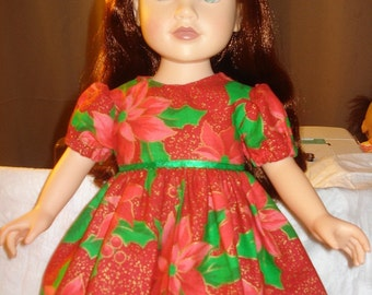 Christmas dress with red Poinsettias and gold sparkle for 18 inch Dolls - ag117