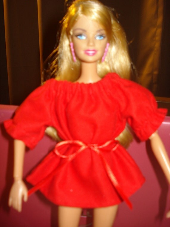 Barbie Doll Separates - Peasant blouse in solid Valentines Day bright red - es62