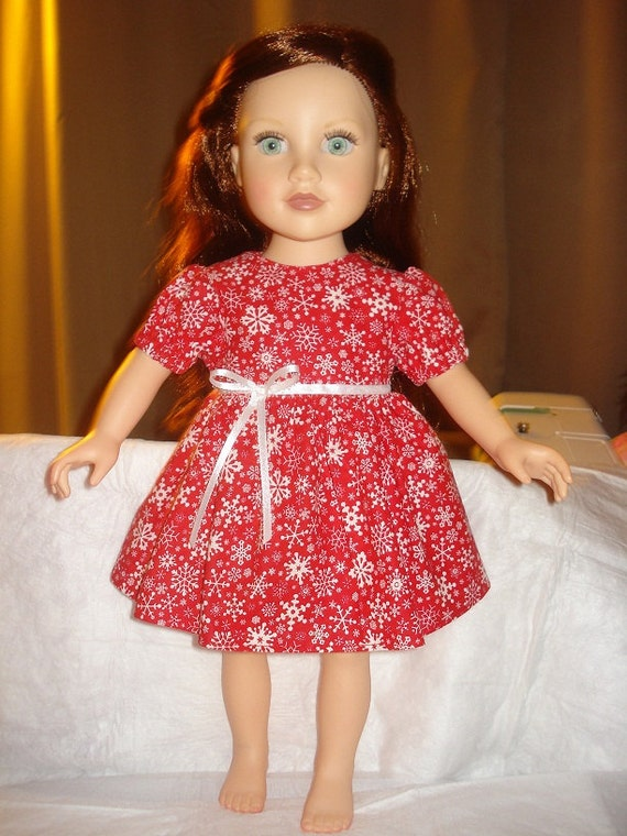 Holiday dress with red and white snowflake print for 18 inch dolls