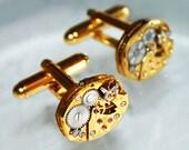 BULOVA Men Steampunk Cufflinks -17J Gold VTG Watch Movement Matching Men Steampunk Cufflinks Cuff Links Watch Cufflinks Fathers Day Gift