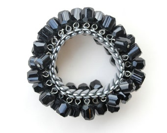 Antique 50's Black Glass Expansion Bracelet made in Japan
