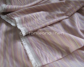 """silk fabric, colorful stripes weaved in ivory silk fabric, half yard by 46"""" wide"""