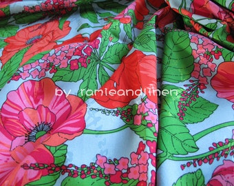 "silk fabric, gorgeous floral print silk cotton blend fabric, dress fabric, half yard by 43"" wide"