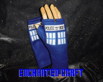 Blue Fleece Dr Who fingerless gloves TArdiS Style police box with thumbs