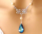 Blue Bridesmaids Necklace: Romantic Victorian Pearl and Swarovski Bermuda Blue Crystal Necklace Sterling Silver Peacock Wedding Jewelry