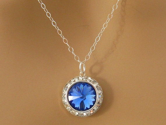 Sapphire Blue Swarovski Crystal Necklace By Martywhitedesigns