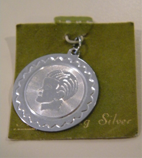 Round boy sterling silver bracelet coin charm