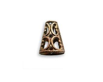 Vintaj 8mm Filigree Cone End Cap- 2 pcs. Ornate Filigree Bead Cap Natural Brass Jewelry Findings Craft Supplies Tools