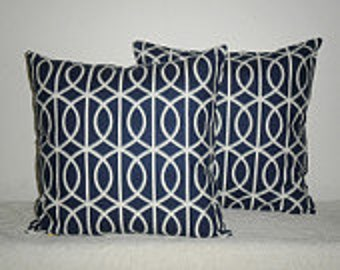 2 Pillows 18x18 in Choice of fabrics in  contemporary geometric gate navy, citrine, charcoal, brindle