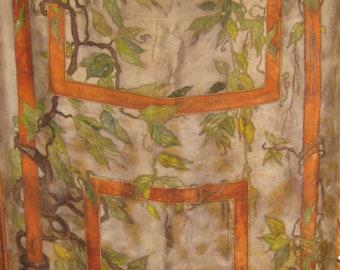 Original Painting Vintage silk jungle door Free shipping