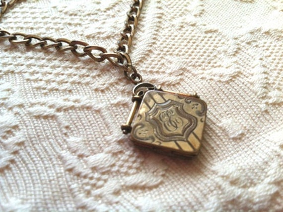Darling Antique Engraved Locket with Small Chain