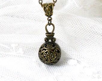 bronze pendant necklace boho pendant necklace bronze charm necklace bronze charm