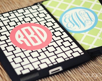 iPad 2/3/4 smart case - monogrammed, snap-on case with fold-up stand - magnetic closure sleeps/wakes the iPad automatically