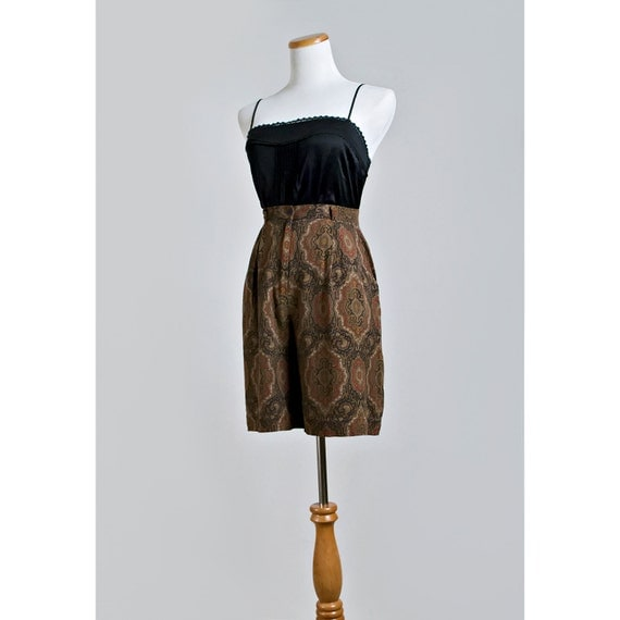 Vintage 80s Paisley Dress Shorts / 1980s Coolot Shorts / Brown, Navy Blue, Red, Gold and Green / SALE