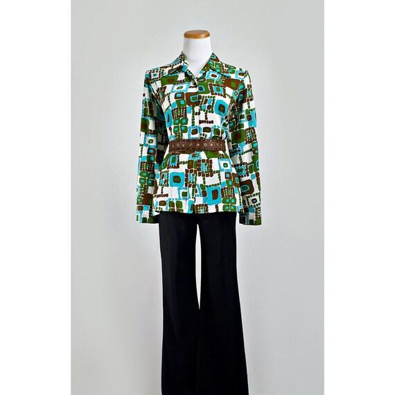 Vintage Abstract Print Blouse / 1960s Geometric Button Down Shirt / SALE