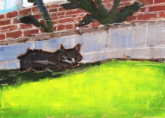 Painting of a Cat in the Grass- Original Art