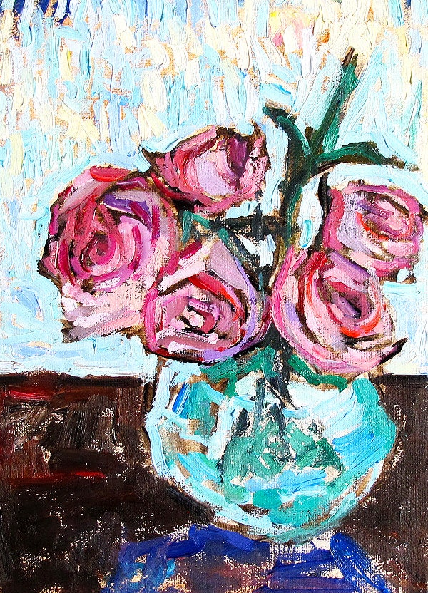 Painting of Pink Rose Bouquet