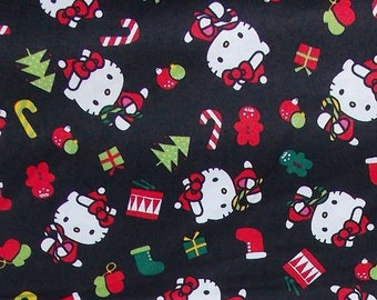 Hello Kitty Christmas Fabric Black Cotton BTY By the Yard