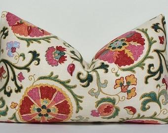 Decorative LUMBAR SUZANI pillow cover pink teal melon red aqua throw pillow basketweave both sides cotton designer pillow cover