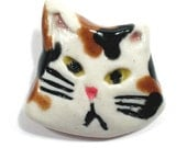 Whimsical Porcelain Cat Pin Brooch Calico White, Brown and Black OOAK - vzdesigns