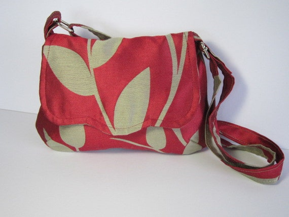 SPECIAL OFFER Rich Red Gold Leaf Bag Purse Cross Body Strap Gold Satin Adjustable Strap