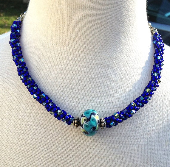 items similar to statement necklace cobalt blue beaded