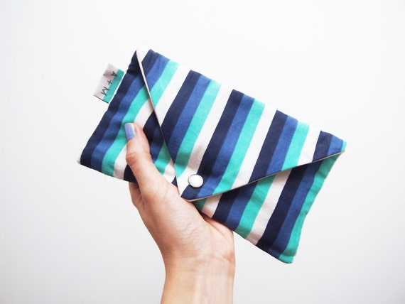 Back to school SALE LAST pencil case Ocean stripes fabric Envelope pouch