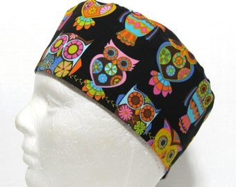 Scrub Hat or Surgery Cap with Multi Colored Owls on Black