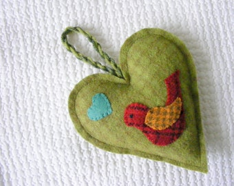 Wool felt heart ornament