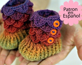 CROCHET PATTERN: Botitas Bebe Puntada Cocodrilo (Tallas de bebe) - Permission to Sell Finished Product