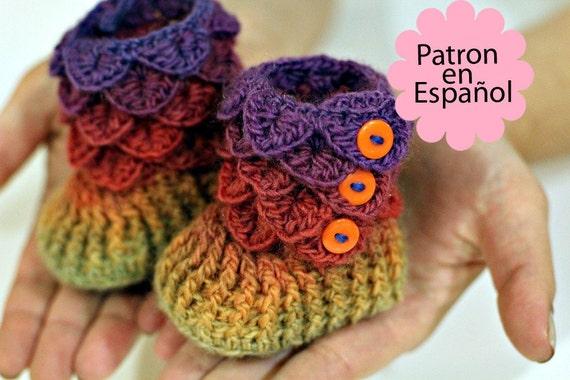 CROCHET PATTERN: Botitas Bebe Puntada Cocodrilo por bonitapatterns