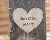 Personalized Rustic Wood Journal or Advice Book for your Wedding - with Personalized Heart