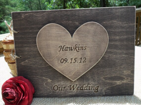 Rustic Wedding Guest Book - Guest Sign-In Book with Lg Personalized Heart