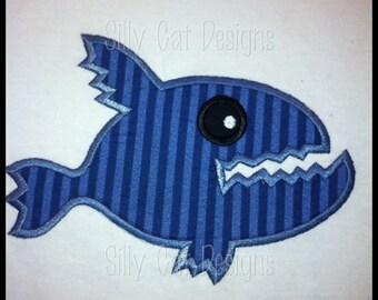 Piranha Fish Applique Design