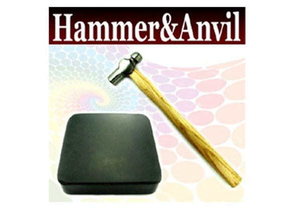 "4oz Ball Pien Hammer and 4""x4""x1"" Rubber Bench Block Anvil SET"