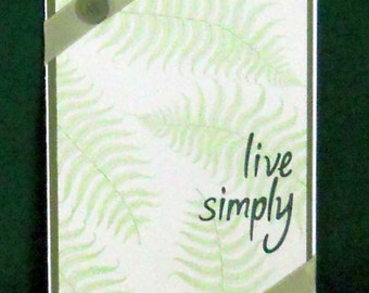 Live Simply Blank Greeting Card - Fern Leaves, Nature, Natural, Simple, Minimalist, Plant, Green, White, All Occasion