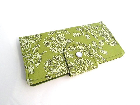 Long Clutch Wallet- Elegant Green Floral- Last one