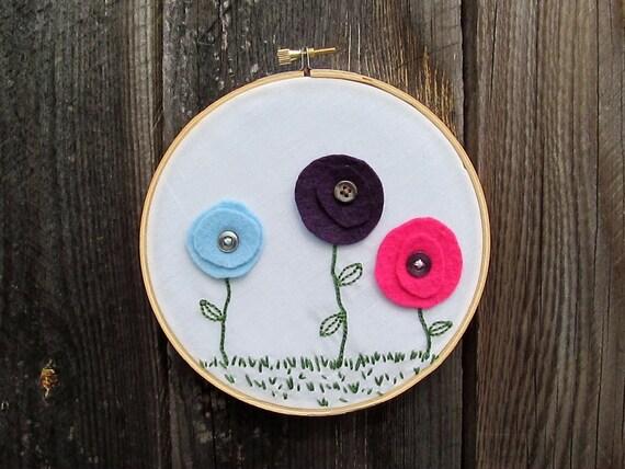 Secret Garden Embroidered Felt Hoop Art