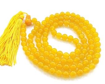 8mm Tibetan Buddhist Natural Yellow Stone 108 Prayer Beads Japa Mala Necklace  ZZ180