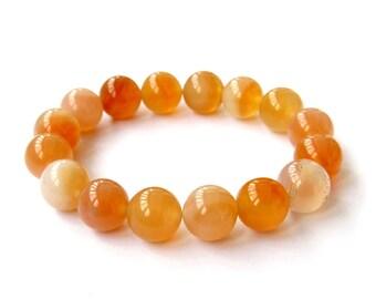 12mm Orange Yellow Round Agate Gemstone Beads Stretchy Charm Bracelet  T2906