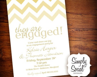 Champagne Gold Ombre Chevron Engagement Party Invitation