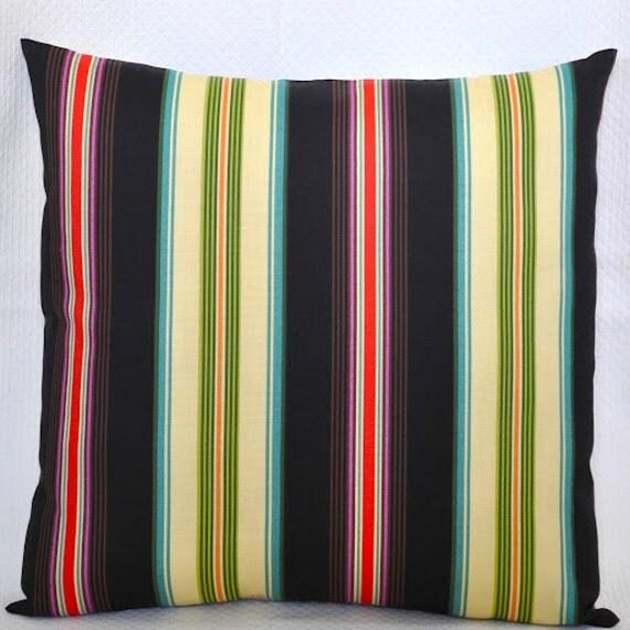 Black Green Red Purple & Cream Stripe Indoor/Outdoor Pillow Cover - 20 x 20