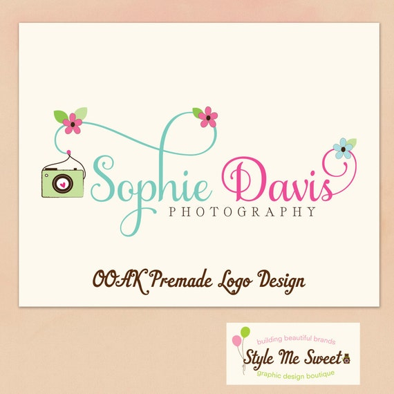 Premade Logo Custom OOAK Hand Drawn  - Camera and Swash Text with Flower Accents Business Photography Photographer Logo Never Resold