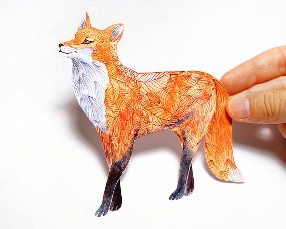 Garden Fox Sticker // 3 for 2 SALE! // 100% waterproof animal vinyl label. New on TevaGallery.