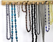"Long Basswood Wooden Hanging Necklace Bar - Bracelet Holder, Jewelry Holder Bar 20"", 14 Long Shaker Pegs, Necklace Race."