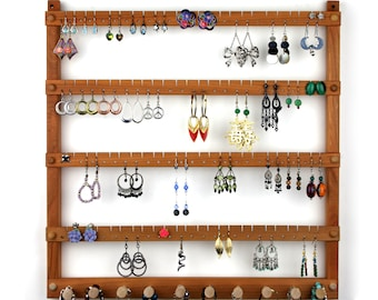 Wood Earring Holder - Jewelry Organizer, Cherry, Wall Mount, plus Necklace Bar. Holds up to 96 Pairs of Earrings plus 10 Jewelry pegs.