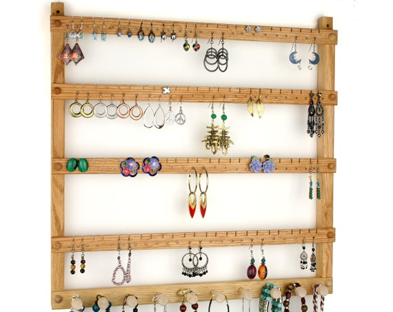 Earring Holder - Jewelry Organizer plus Necklace Organizer Rack, Oak, Wood. Wall Mounted. Holds up to 96 Pairs of Earrings, 10 Pegs