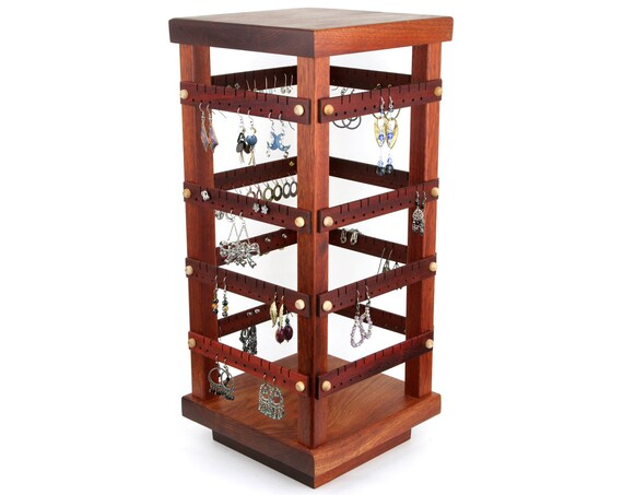 Earring Holder - Jewelry Holder Store Display, Spinning, Bloodwood, Wood, 4-Sided Display with Revolving Base. 160 pairs. Jewelry Organizer