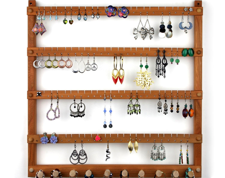 Wood Earring Holder Jewelryanizer Cherry Wall Mount