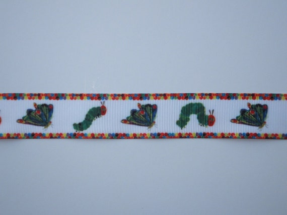 """7/8"""" Very Hungry Caterpillar Grosgrain Ribbon by the Yard"""
